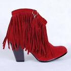 Pretty Womens Tassel Thick High Heel Faux Suede Ankle Winter Boots Plus SZ10.5