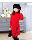 New Fall Winter Kids Young Girls Long Sleeve Lace Sweater Dress Warm Pullovers