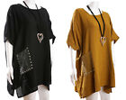ITALIAN LAGENLOOK  100% Cotton oversized TUNIC/TOP Pockets with studs & sequins