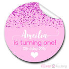 1xA4 Sheet Personalised PINK GLITTER 1st Birthday Party bags GLOSSY STICKERS
