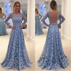 Backless Elegant Blue Vintage Lace Wedding Dress Bridal Gown Long Sleeve Dress