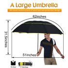 "62"" Unisex Large Double Golf Rain Umbrella Paraguas Alloy Skeleton Umbrella Best"