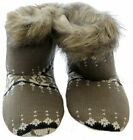 Ladies Knitted Fur Trim Bootee Slippers Brown or Grey Sizes 3-8 Available