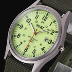Glow in Dark Luminous Mens Military Army Date Canvas Quartz Sport Wrist Watch