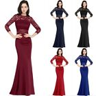 Women Long Lace Formal  Evening Cocktail Party Dress Prom Gown Bridesmaid Dress