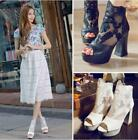 Womens Flower Lace Peep Toe Zip Ankle Chunky Heels Sandals Platform Shoes Size 9
