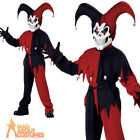 Child Evil Jester Costume Halloween Horror Jokers Wild Boys Kids Fancy Dress