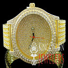 Mens Bling Master Yellow Gold Finish Iced Out Band Joe King Rodeo Custom Watch