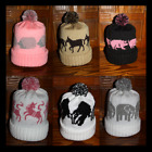 Hand Made Knitted Pom Pom Hats, Different Designs of Wild Animals & Other
