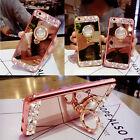 Diamante Crystal Soft Mirror Case Cover For iPhone 6 6s 7 Plus 5s Ring Kickstand