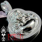 "10K White Gold Over Silver Simu Diamond 3D Laughing Prosperity Buddha 2"" Pendant"