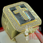 Mens 14K Yellow Gold On Sterling Silver Lab Diamond Cross Jesus Pinky Ring Band
