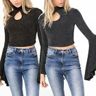 Womens Ladies Long Bell Sleeves Turtle Neck Keyhole Front Crop Top Blouse