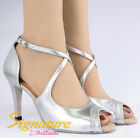 Signature #S001A Silver Latin Ballroom Salsa Tango Dance Shoes All Size /3.5""