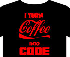 Code T Shirt up to 5XL computer programmer java ascii red hat linux coffee