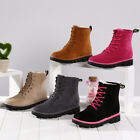 Womens Ladies Winter Martin Ankle Snow Boots Fur Lined Flat Lace Up Casual Shoes