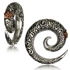PAIR WHITE BRASS & COPPER CARVED SPIRALS GAUGES EARRINGS PLUGS TUNNELS EXPANDERS