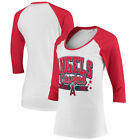 Womens Los Angeles Angels 5th & Ocean New Era White/Red Team Banner 3/4-Raglan