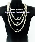 """Hip Hop 14K White Gold Plated 12mm Silver Rope Chain Necklace 24"""" 30"""" 36"""" inches image"""