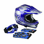 S M L XL Youth Kids Dirt Bike Motocross ATV Skull DOT Helmet + Goggles Gloves