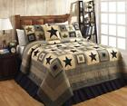 3PC COLONIAL STAR BLACK & TAN PRIMITIVE CABIN LODGE  COTTON QUILT SHAMS BED SET
