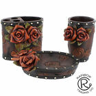 Western Double Red Rose Floral Decorative Bathroom Accessories Tooled Leather