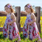 US Stock Girls Floral Print Sleeveless Dress Kids Summer Party Dresses Age 2-7T