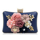 Milisente Women Handbag Party Bag Floral Beaded Pearl PU Clutch Purse Crystals