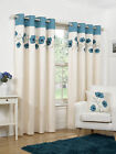 Luxury Faux Silk Ready Made Curtains Cream & Teal Poppy Design Ring Top Eyelet