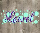 """Personalized Name with Polka Dots Decal. 3"""" long. Choose your Color. Great Gift."""