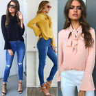 Womens Long Sleeve Casual Loose Blouse T-shirt Formal OL Work Tie collar Tops
