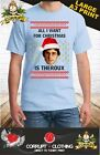 Louis Theroux All I want for Christmas T-shirt Top Xmas Funny Festive bbc blue