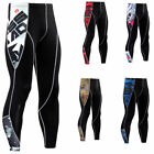 Mens Compression Tights Running Jogging Gym Long Pants Black Base layer Printed