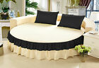 Solid Multi Ruffle Round Bed Spread/Cover 800 TC Egyptian Cotton ALL SIZE &COLOR