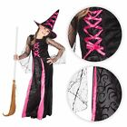 Girls Long Pink Witch Gown & Hat Kids Child Halloween Party Fancy Dress Costume