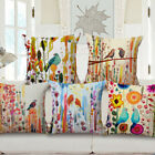 "18"" Home Cotton Linen Car Bed Sofa Pillow Case Watercolor Geometry Square Cover"