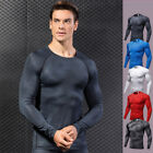 Mens Athletic Compression Shirts Workout Dri fit Gym Running Jersey Long Sleeve