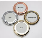 DIY Blank Round Shaped Makeup MIRROR Compact Metal Fits in Pocket Bridesmaid