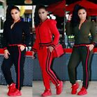 Women Hoodies Sweatshirt Pants Sets Stripe Tracksuit Jogging Gym Sport Suit 2PCS