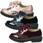 KIDS GIRLS CHILDRENS SHOES OXFORDS BROGUES LOAFERS SCHOOL GLITTER LACE UP SIZE