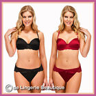 Red & Black Underwired Padded Satin & Lace Bra and Brief Set. Size 32B - 40DD