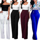 Womens Plain Wide Leg Flared Palazzo Pants High Waisted Loose Casual Trousers