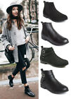 Ladies Womens Flat Heel Chelsea Ankle Boots Pull On Casual Low Black Shoes Size