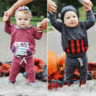 USA Fashion Toddler Baby Boys Girls Hooded Tops Pants 2Pcs Outfits Set Clothes