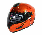 FULL FACE HELMET NK-852 CHROME ORANGE, DOUBLE VISORS, SUN SHIELD, MOTORCYCLE