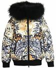 Lisa-Rella Girls' Down Bomber in Tiger Print, Sizes 6-16