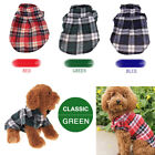 Pet Dog Cat Puppy Classic Plaid T Shirt Lapel Coat Jacket Clothes Costume Tops