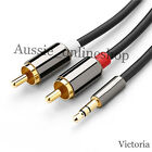 Premium Stereo Audio 3.5mm Aux Jack to 2 RCA M/M Y Cable Gold Plated 1m~5m au