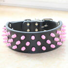 Pink Spiked Studded Dog Collar Leather Pet Collar Pit bull Terrier size S M L XL