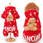 Christmas Small Dog Pet Clothes Mr. Ms. Santa Hoodie Dress Red Bear Costume US